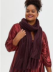 Burgundy Purple Cable Knit Oblong Scarf, , hi-res