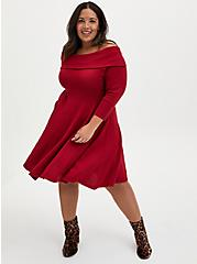 Red Off Shoulder Sweater Dress, JESTER RED, alternate