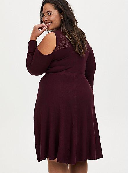 Burgundy Cold Shoulder Mock Neck Sweater Dress, WINETASTING, alternate