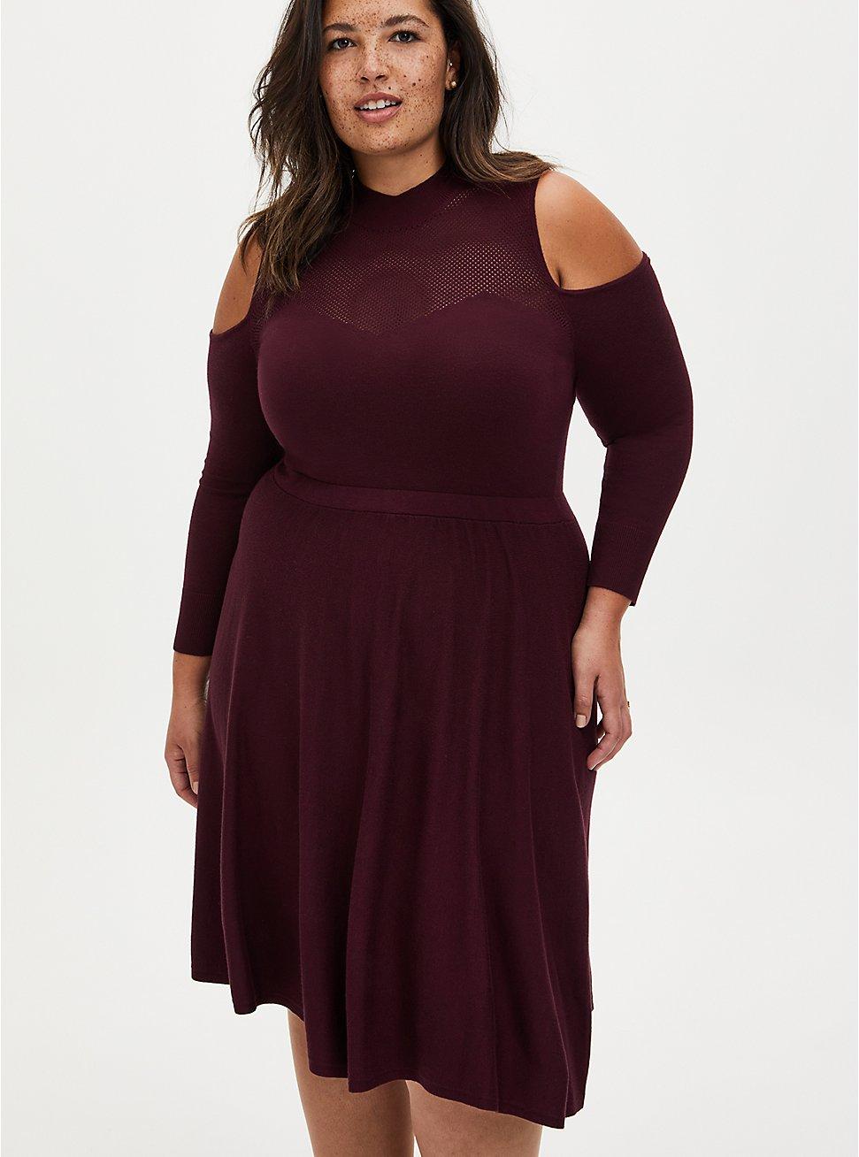 Burgundy Cold Shoulder Mock Neck Sweater Dress, WINETASTING, hi-res