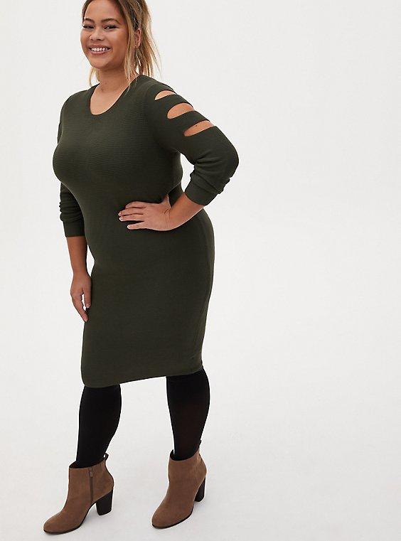 Olive Green Cutout Sweater Dress, DEEP DEPTHS, hi-res