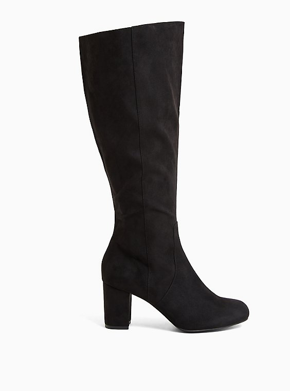 Black Faux Suede Square Toe Block Heel Knee-High Boot (WW), BLACK, hi-res