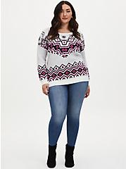 Ivory Fair Isle Crew Neck Pullover Tunic, OATMEAL HEATHER, alternate