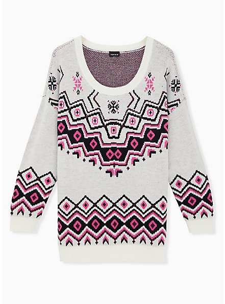 Ivory Fair Isle Crew Neck Pullover Tunic, OATMEAL HEATHER, hi-res