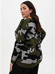 Camo Jacquard Crew Neck Tunic Sweater , CAMO, alternate