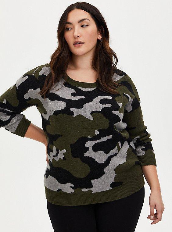 Camo Jacquard Crew Neck Tunic Sweater , , hi-res