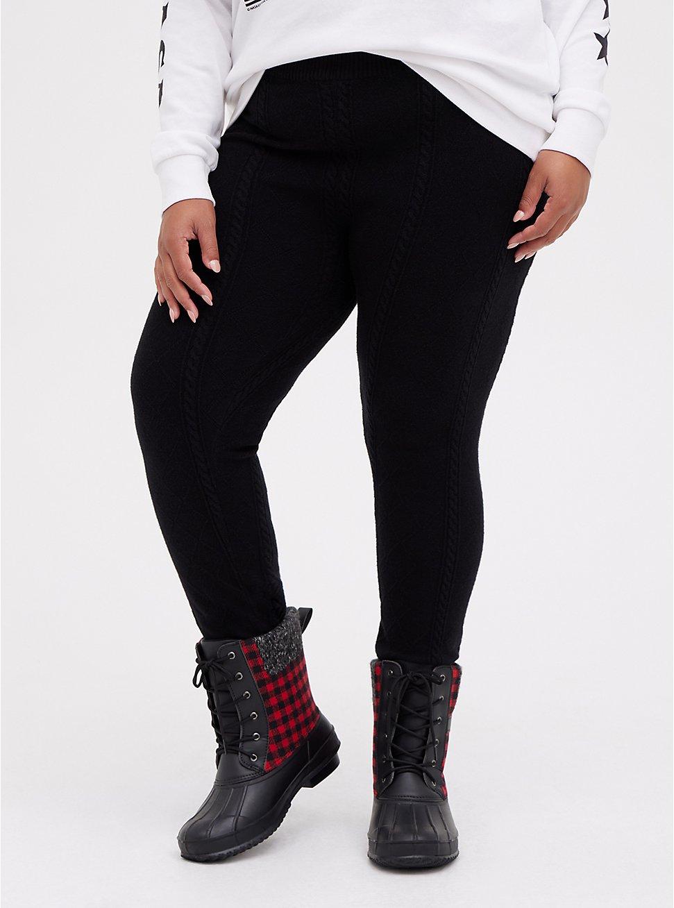 Platinum Legging - Cable Knit Black , BLACK, hi-res