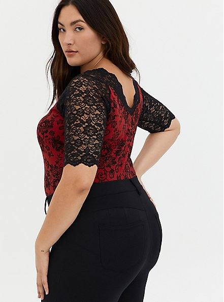 Black Lace & Red Foxy Bodysuit, DEEP BLACK, alternate