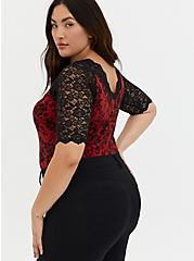Black Lace & Red Foxy Bodysuit, DEEP BLACK, alternate