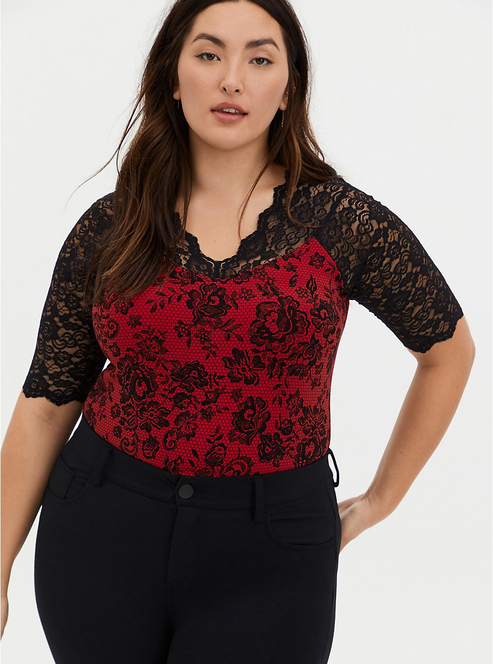 Black Lace & Red Foxy Bodysuit, DEEP BLACK, hi-res