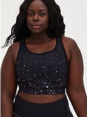 Black Cosmos Active Wicking Longline Sports Bra, COSMOS, hi-res