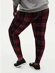 Plus Size Premium Leggings - Plaid Red & Black , MULTI, alternate