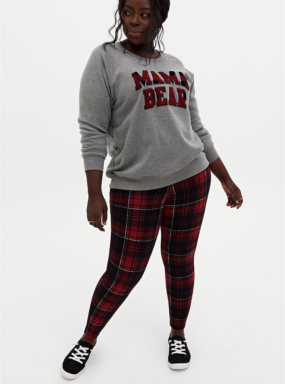 Plus Size Premium Leggings - Plaid Red & Black , MULTI, hi-res