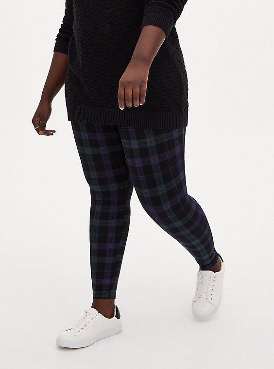 Plus Size Premium Legging - Plaid Blue & Green, , hi-res