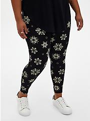 Plus Size Premium  Legging - Skull Snowflake Black, MULTI, alternate