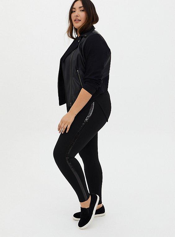 Platinum Tuxedo Legging - Ponte Sequin Stripe Black, BLACK, hi-res