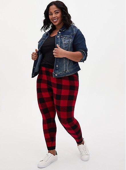 Platinum Legging - Sweater Knit Plaid Red, MULTI, hi-res