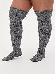 Grey Marled Knee High Socks, GREY, alternate