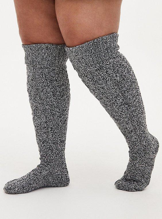 Grey Marled Knee High Socks, , hi-res