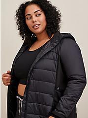 Black Nylon & Fleece Active Puffer Jacket , BLACK, alternate