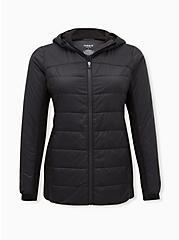Black Nylon & Fleece Active Puffer Jacket , BLACK, hi-res