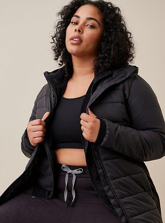 Black Nylon & Fleece Active Puffer Jacket , , hi-res