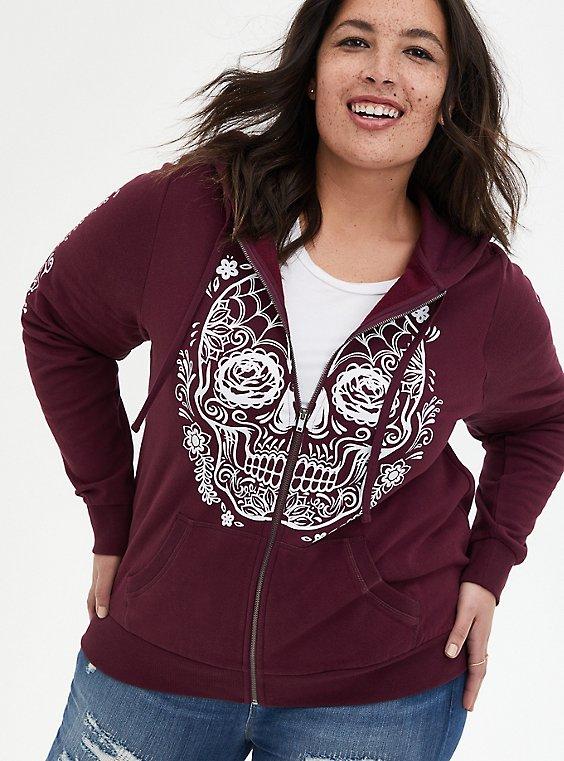 Tattoo Skull Burgundy Purple Fleece Zip Hoodie, WINETASTING, hi-res