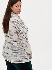 Plus Size Ivory Space Dye Turtleneck Sweater, IVORY, alternate