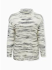 Ivory Space Dye Turtleneck Sweater, IVORY, hi-res