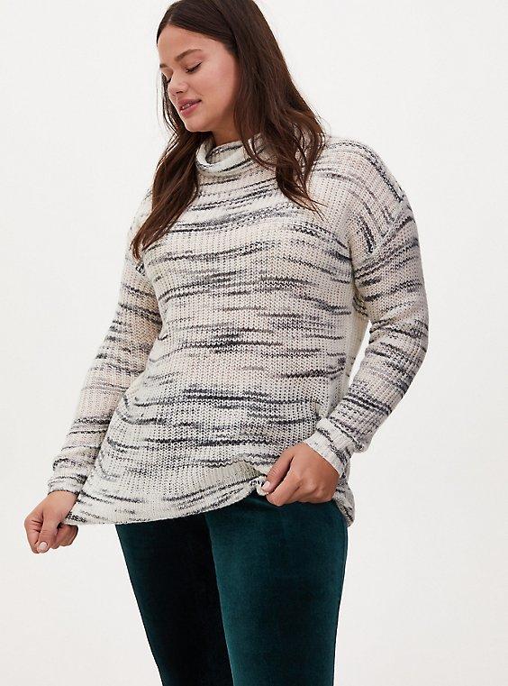 Plus Size Ivory Space Dye Turtleneck Sweater, IVORY, hi-res