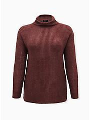 Walnut Turtleneck Pullover Sweater, ROSE BROWN, hi-res