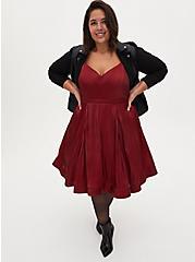 Dark Red Liquid Woven Fit & Flare Dress, BIKING RED, hi-res