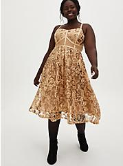 Gold Mesh Embroidery & Sequin Midi Dress, CHAMPANGE METALLIC, alternate
