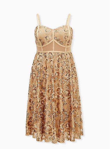 Gold Mesh Embroidery & Sequin Midi Dress, CHAMPANGE METALLIC, hi-res