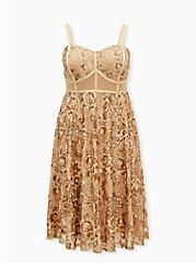Gold Mesh Embroidery & Sequin Midi Dress, CHAMPANGE METALLIC, hi-res