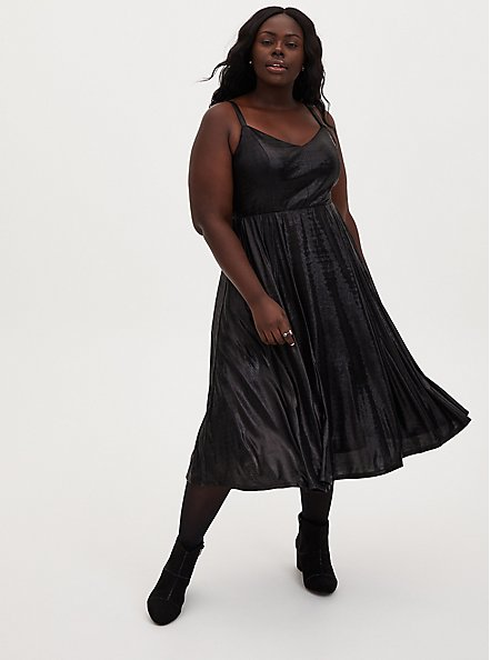 Black Liquid Knit Skater Dress, DEEP BLACK, alternate
