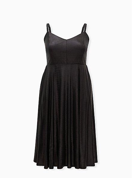Black Liquid Knit Skater Dress, DEEP BLACK, hi-res
