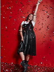 Plus Size Black Liquid Knit Skater Dress, DEEP BLACK, hi-res