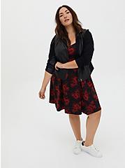 Black Floral Sweetheart Skater Midi Dress, FLORALS-RED, alternate