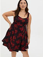 Black Floral Sweetheart Skater Midi Dress, FLORALS-RED, hi-res