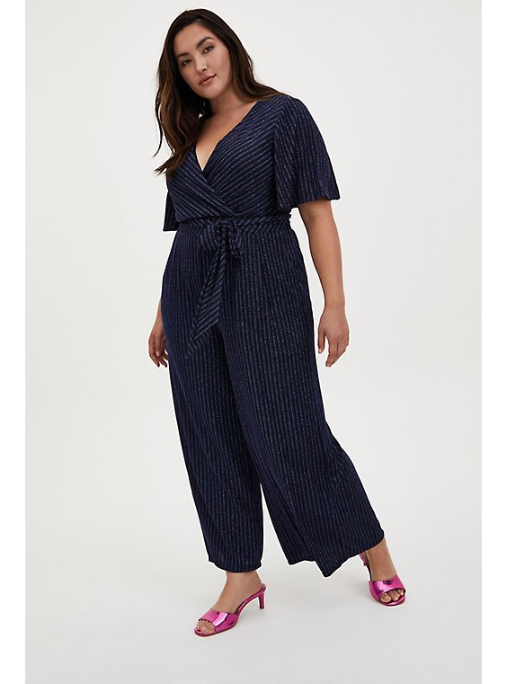 Dark Blue & Multi Stripe Shimmer Surplice Jumpsuit, STRIPE - MULTI, hi-res