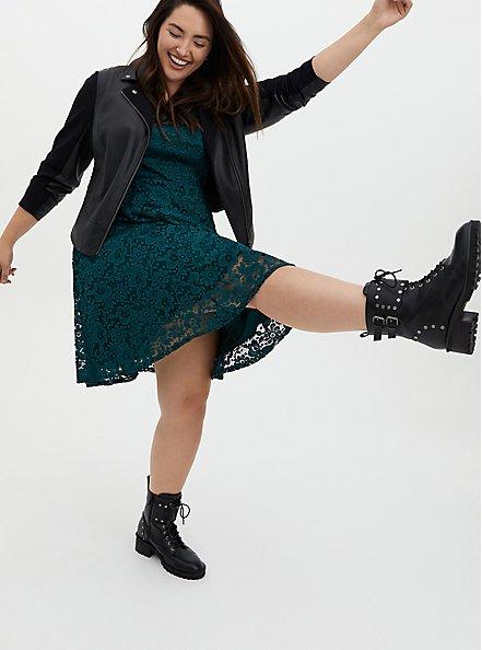 Teal Lace Skater Dress, JUNEBUG, alternate