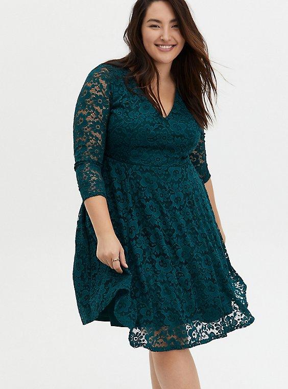 Teal Lace Skater Dress, JUNEBUG, hi-res