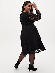 Black Lace Skater Dress, DEEP BLACK, alternate