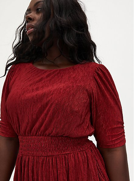 Dark Red Crinkle Knit Midi Dress, BIKING RED, alternate