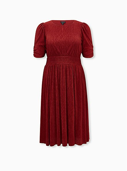 Dark Red Crinkle Knit Midi Dress, BIKING RED, hi-res