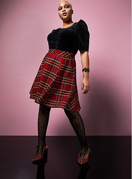 Betsey Johnson Black Velvet Puff Sleeve Corset Top, DEEP BLACK, alternate