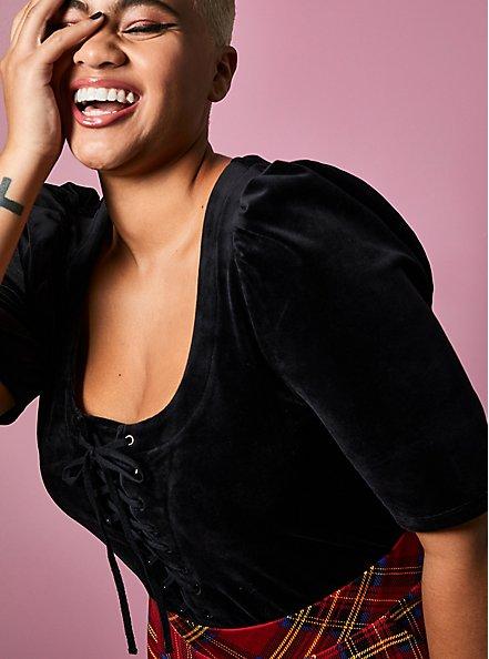 Betsey Johnson Black Velvet Puff Sleeve Corset Top, DEEP BLACK, hi-res