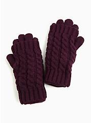 Purple Knit Layered Gloves, , alternate