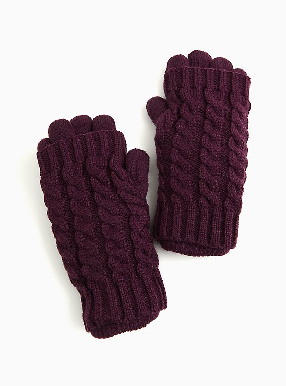 Purple Knit Layered Gloves, , hi-res